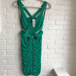 NWT Bebe Green Dress New Criss Cross New Medium